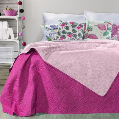 Cuvertura reversibila Fala Light Pink / Purple, 220 x 240 cm