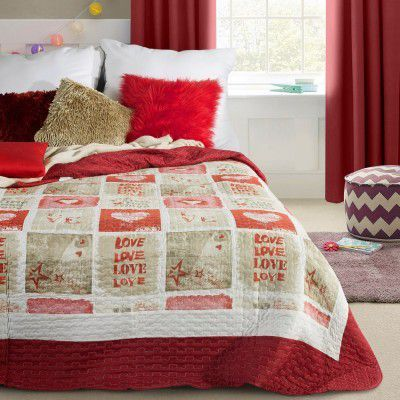 Cuvertura reversibila pat copii Love Red, 170 x 210 cm