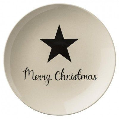 "Farfurie Decorativa "" Star Merry Christmas "" Ivoir/Neagra, O25 cm"