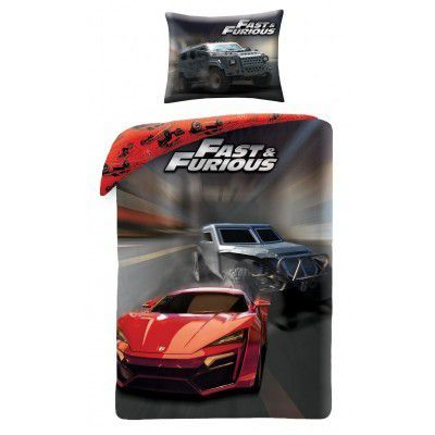 Lenjerie de pat copii Cotton Fast and Furious FF-7000BL
