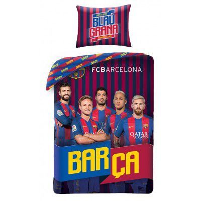 Lenjerie de pat copii Cotton FC Barcelona FCB-8017BL