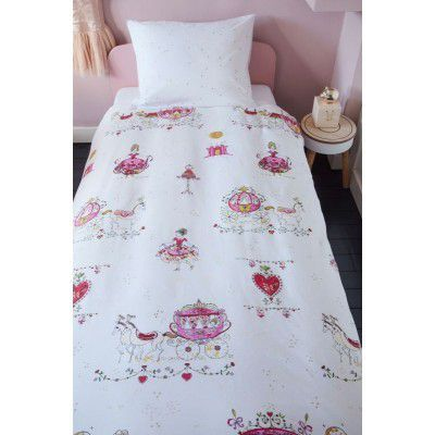 Lenjerie pat printese roz Princess Carriage 140x200/220 cm