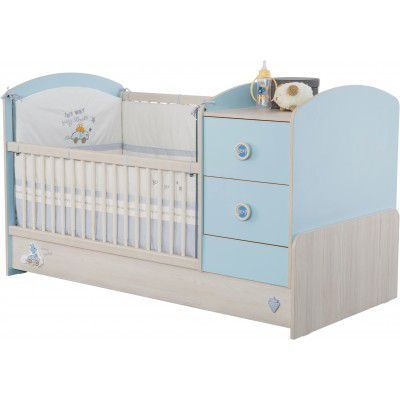 Patut transformabil din pal, pentru bebe Baby Boy Light Blue / Nature, 160 x 75 cm