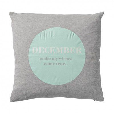 "Perna decorativa "" December... "", Gri/Verde/Alb, l45xL45 cm"
