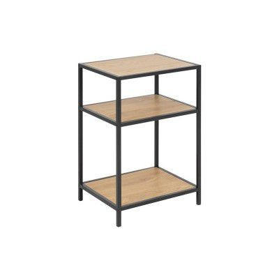"Raft din MDF si metal ""Seaford"" Oak / Black, l42xA35xH63 cm"